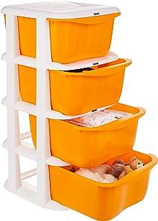Amazon Brand - Solimo Plastic Multipurpose Modular Drawer, 4 Racks, Orange