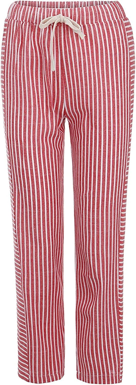Crazylover Women Stripe Long Pants Casual High Waist Trouser Plus Size Elastic Band Lounge Pants Elastic Slim Fit Workwear