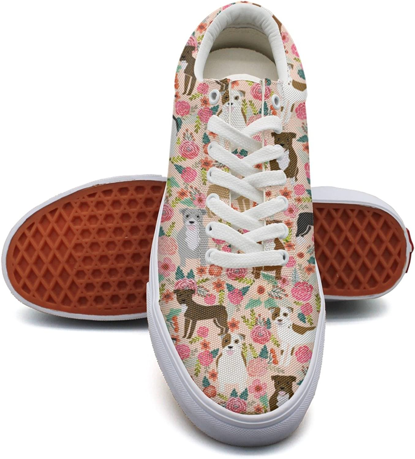 Feenfling Vintage Pitbull Terriers Dog Florals Womens Denim Canvas Deck shoes Low Top Comfortable Basketball shoes for Women