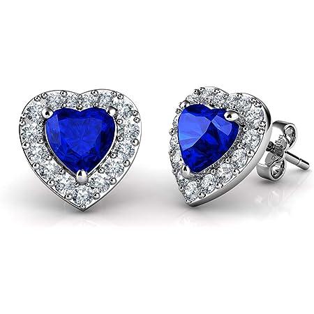 925 Sterling Silver /& CZ Crystal Heart Stud Earrings