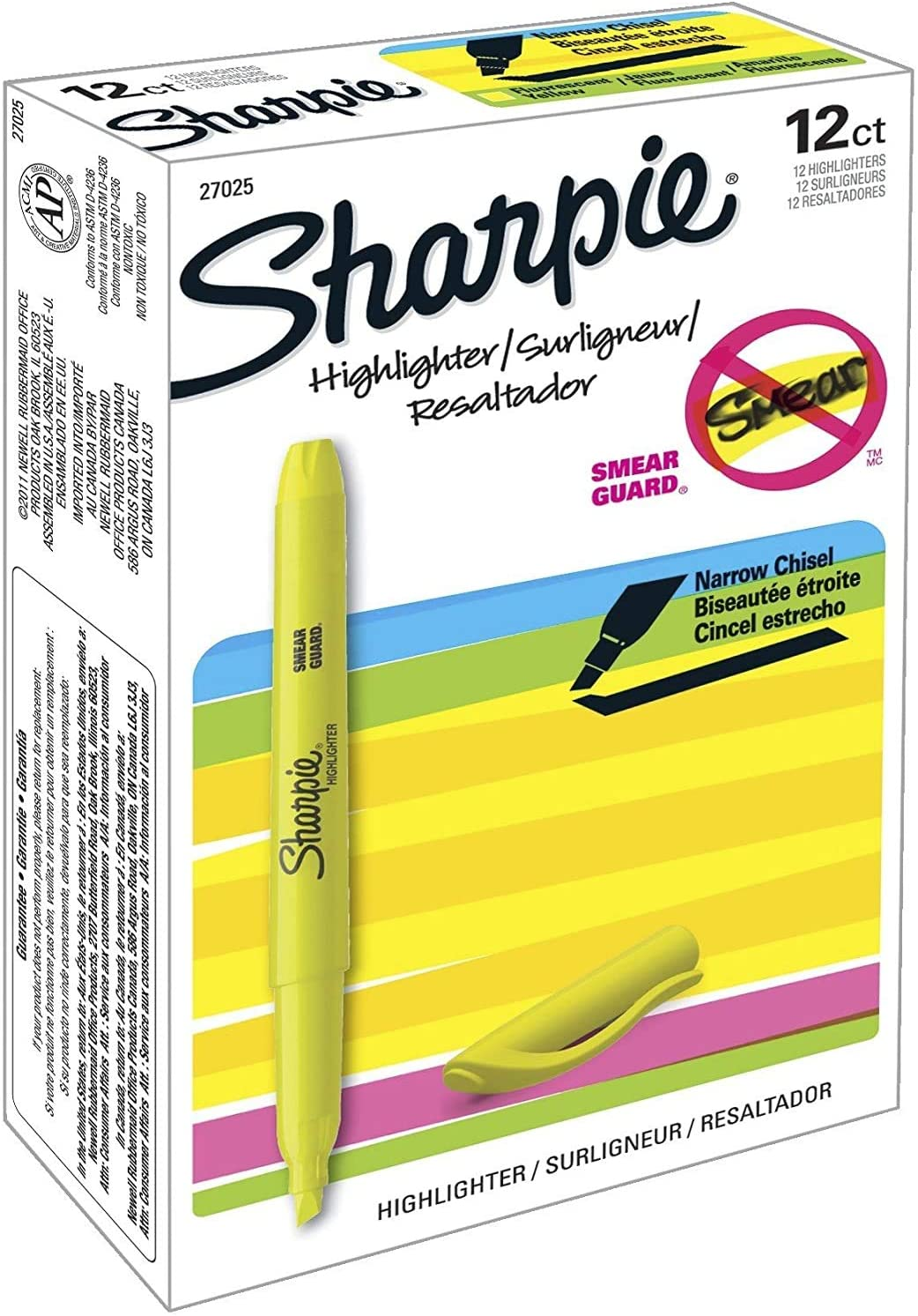 New Fluorescent Yellow 6-Pack Sharpie 27108PP Accent Pocket Style Highlighter
