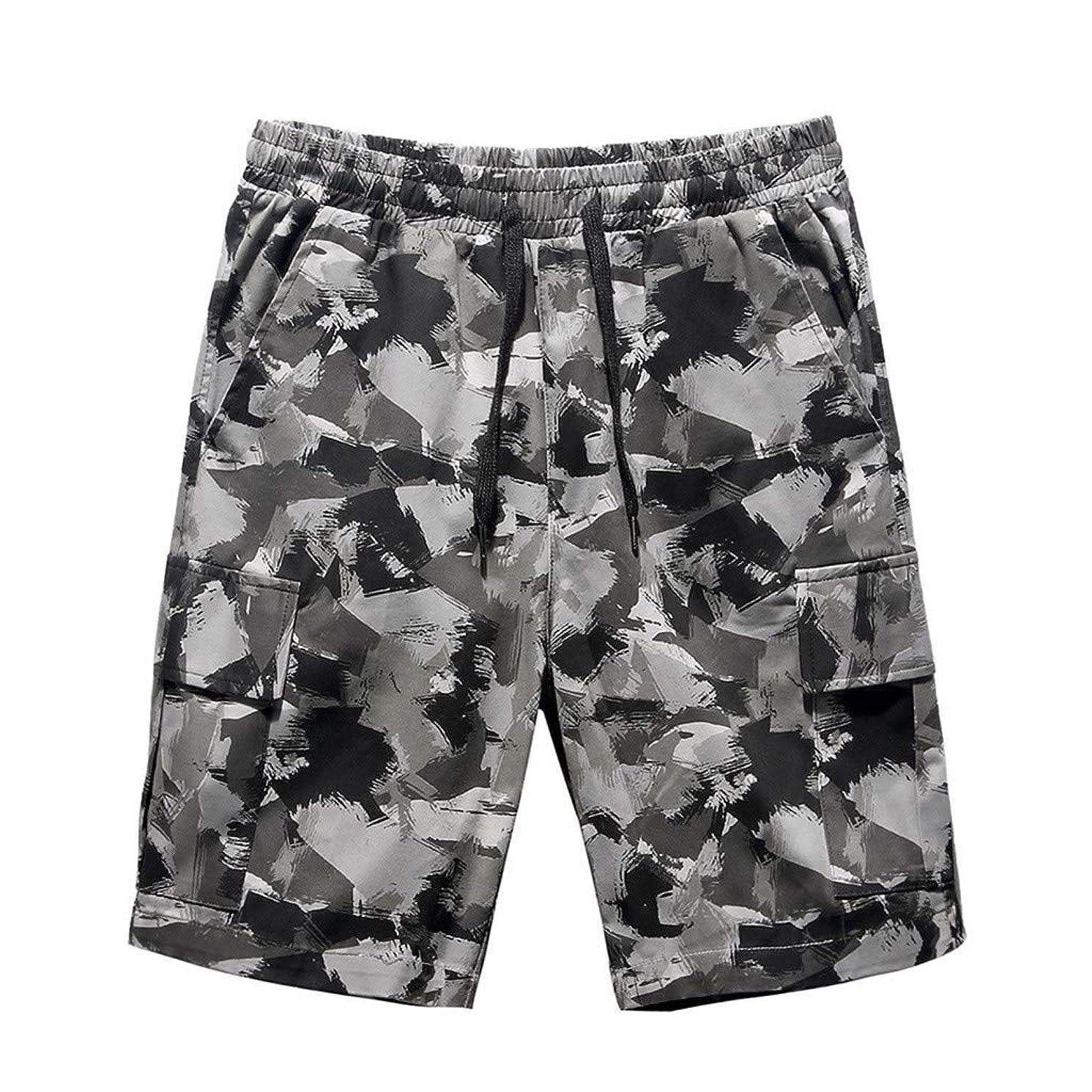 JJLIKER Men's Camouflage Multi-Pocket Capri Cargo Pants Classic Fit Casual Soft Cotton Sport Athletic Beach Pants