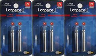 6 Loopacell CR435 BR435 435 Lithium Pin Type Cell 3V For Fishing Lures, Fishing Bobbers, Pen Lights, Arrow Nocks, Fishing Floats, Pole Lights, LED Flashers Batteries