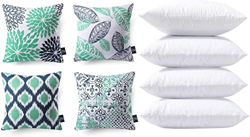 wholesale Phantoscope 2021 Bundles, Set of 4 New Living Series Cyan and Blue Pillow Covers 18 x 18 inches & Set of 4 Pillow Inserts 18 x 18 outlet online sale inches outlet sale