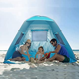 Poray UV50+ Instant Beach Tent,Pop Up Shelter with 3 Windows,Fishing Camping Portable Light Weight Windproof Cabana for Picnic