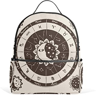 Moon Sun Clock School Backpack Canvas Rucksack Large Capacity Satchel Casual Travel Daypack for Kids Girls Boys Children Students, 3-9 Years Old