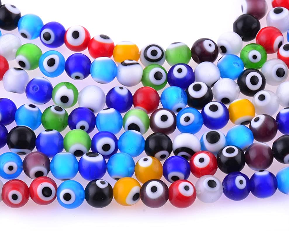 8mm 200 Pcs Evil Eye Glass Beads Assorted Colors of Jewelry Findings for Bracelet ,Necklace or Others lvvjlmfak8060