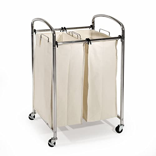 4eede2159eb Seville Classics Mobile Double Bag Compact Laundry Hamper Sorter Cart