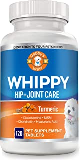 Whippy Glucosamine for Dogs, Turmeric Superblend, Chondroitin, MSM and Hyaluronic Acid - Supports Bone Health and Improves Joint Mobility - 100% Natural Pain Relief - for Medium to Large Dogs