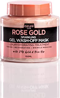 Rose Gold Luxury Sparkling Hydrating Gel Wash Off Mask – Reduces Fine Lines, Wrinkles & Acne Scars | Removes Oils & Dirt | Firms and Hydrates – 150ml