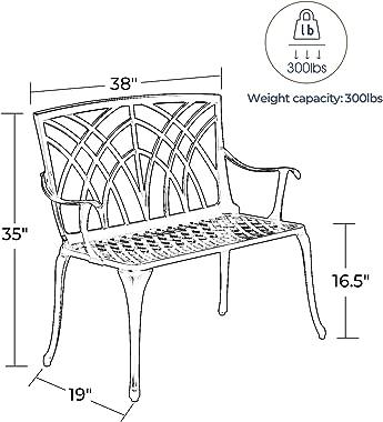 "Laurel Canyon 38"" Outdoor Patio Bench, Cast Aluminum Construction Furniture Chair 2-Person Seating for Porch Backyard Gar"