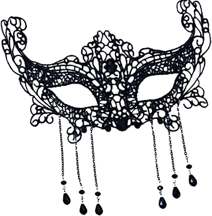 Opla3Ofx Halloween Cosplay Costume Face Mask,Halloween Masquerade Prom Party Costume Kids Adults Accessories Decorations Black
