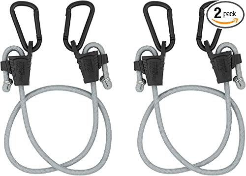 National Hardware N263-081 Bungee Cords with Carabiner 2 Pack Tie Down Straps with Adjustable Length Useful asCar Hooks Truck Accessories and Garage Organization Black