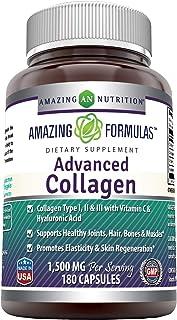 Amazing Formulas Advanced Collagen 1500 mg Per Serving 180 Capsules (Non-GMO,Gluten Free) Collagen Type I, II & III with V...