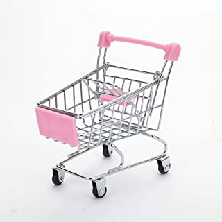 Fly Array Kids Mini Shopping Cart Roll Wheel Moving Doll Toys Holder Cool Desk Holder Tiny Cute Supermarket Cart Trolly Sturdy Metal Novelty Adorable Gifts for Children (Pink, M(7.1×5.3×6.5 inch))
