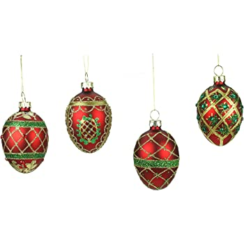 6 x Gisela Graham Shattered Look Glass Christmas Tree Hanging Baubles 8cm 829
