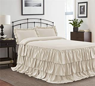 HIG 3 Piece Ruffle Skirt Bedspread Set King-Ivory Color 30 inches Drop Ruffled Style Bed Skirt Coverlets Bedspreads Dust Ruffles- Echo Bedding Collections King Size-1 Bedspread, 2 Standard Shams