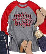 Merry and Bright Leaf Print T Shirt for Women Christmas Raglan 3/4 Sleeve O Neck Cute Tshirt Top