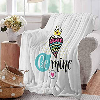 Luoiaax Romantic Rugged or Durable Camping Blanket Colorful Patterned Heart Shape with a Crown Creative Typography Phrase Be Mine Warm and Washable W91 x L60 Inch Multicolor