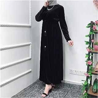 DSJTCH ベルベットアバヤファムカフタンローブドバイのイスラム教徒のヒジャーブドレストルコAbayas女性Caftan Marocain Elbiseラマダンイスラム服 (Color : Black dress, Size : XX-Large)