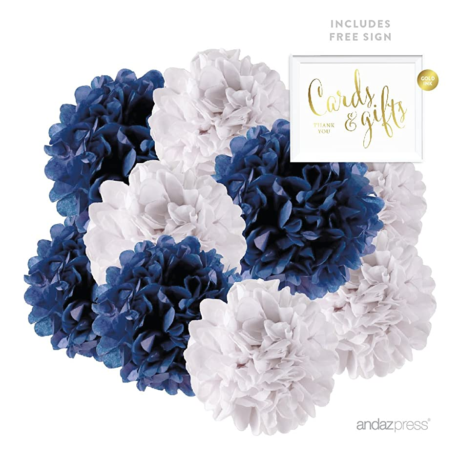Andaz Press Hanging Tissue Paper Pom Poms Party Duo Decor Kit with Free Party Sign, Navy Blue and White, 12-Pack