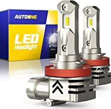AUTOONE H11 H9 LED Headlight Bulbs H8 LED Bulb, Same OEM Size, 12000LM CANBUS for High or Low Beam 6000K White, Pack of 2