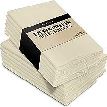 Utopia Kitchen Cloth Napkins 18 by 18 Inches, 12 Pack Ivory Dinner Napkins, Cotton Blend Soft Durable Napkins