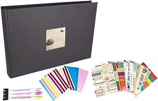 Album photo pour scrapbooking 31 x 22 cm 80 pages noir avec encoche en couverture pour insertion de la photo