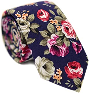 "JESLANG Men's Cotton Printed Floral Neck Tie 2.56"" Narrow Ties Various Designs"