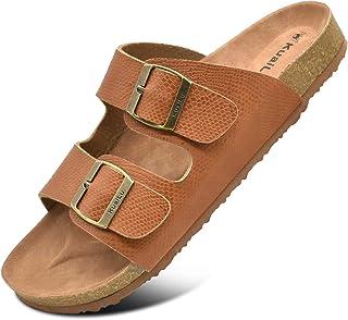 KUAILU Mens Slides Sandals Arizona Comfort Slip On Cork Footbed Sandals with Two Adjustable Leather Straps for Outdoor/Indoor