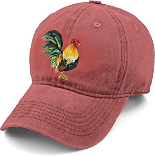 b9b6e3fb335 KKMKSHHG Unisex Lifelike Rooster Denim Hat Adjustable Washed Dyed Cotton  Dad Baseball Caps