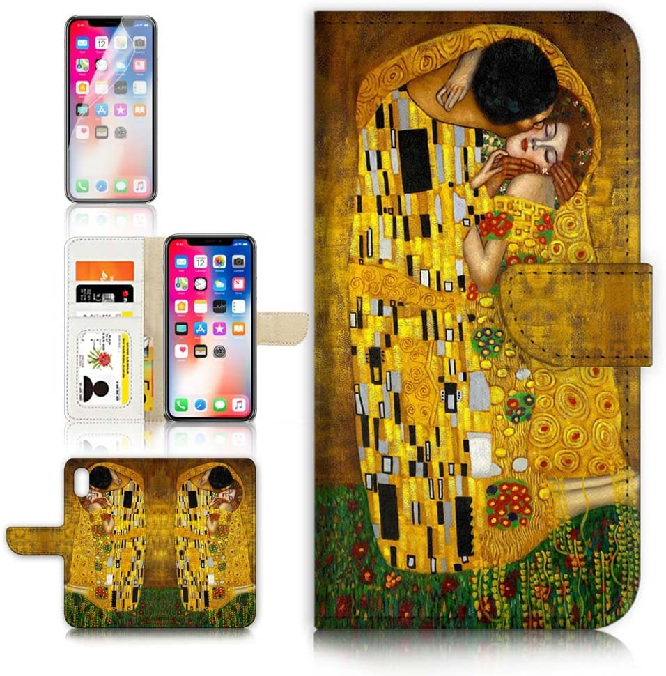(for iPhone XR) Flip Wallet Case Cover & Screen Protector Bundle - A0007 The Kiss Klimt