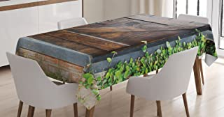 Ambesonne Rustic Tablecloth, Small Spanish Style Dark Stained Wood Door Secret Garden with Grated Window Picture, Dining Room Kitchen Rectangular Table Cover, 60