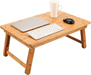 Large Size Laptop Tray Desk NNEWVANTE Foldable Lap Table Bed Tray, TV Tray Floor Table Bamboo Adjustable Breakfast Serving Tray Writing Gaming 4 Leg Latches Support up to 18in Laptop, 25.6x17.7in