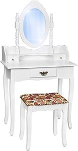 TecTake comò specchiera bianca con sgabello Tavolino da trucco Mobile da toletta