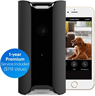 Canary PRO: Smart WiFi Wireless Home Security Camera + 1-Year Premium Service Plan ~ Alexa, iOS, Android, (Built in Siren, Climate Monitor, Motion, Person Sensor, Air Quality Alerts), Black