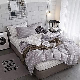 Tookkata - 1 Set Stripe Bedding Linen Quilt/Duvet Bedding Cover & Sheet Sham Twin/Queen/King Size Design (Gray, Twin Extra Long)