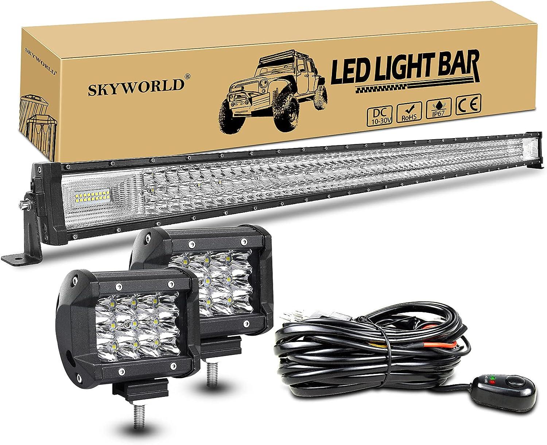 Miami Mall SKYWORLD 52 inch LED Light Bar Flood Triple Row Combo Super Special SALE held Spot 675W