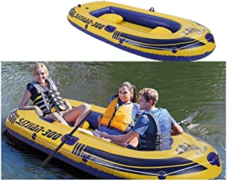 Air Transport,3-4Person 8FT Inflatable Boat Series Touring Kayak Canoe Boat Set,3-layer PVC Inflatable Rafting Fishing Dinghy Tender Pontoon Boat with Paddles and Air Pump for Water Sports Fun(Yellow)
