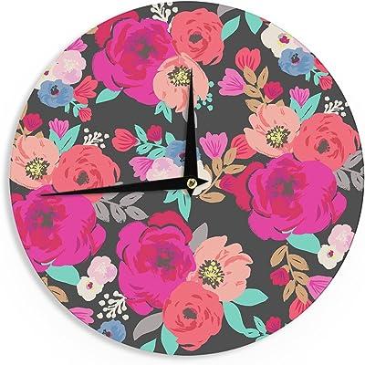 Kess InHouse Kess Original Big Foot Pink Purple Wall Clock 12