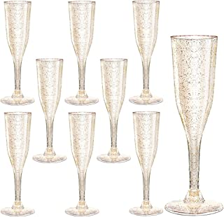 105 Pieces Plastic Champagne Glasses Gold Glitter, 5 Oz Plastic Champagne Flutes, Premium Disposable Clear Cups Prefect for Wedding and Party
