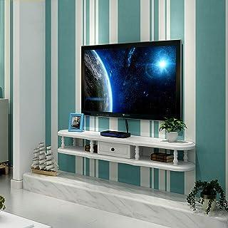 ZPWSNH Estantería de TV, gabinete, Estante para Medios, Consola de Entretenimiento, Estante de Juego, Unidad Flotante Blanca con Muebles de cajones Mueble para TV de Pared (Size : 120cm)