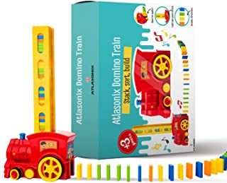 Domino Train Set - 80 Pcs. Fun and Colorful Train That Prepares Your Domino Rally Experience Quickly and Automatically for...