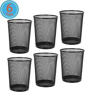DESIGNA Wire Mesh Desk Trash Can, Round Waste Basket for Home Office, 6-Pack Black Office Trash Cans 4.5 Gal 11-11/16 Diameter x 14-1/16 H