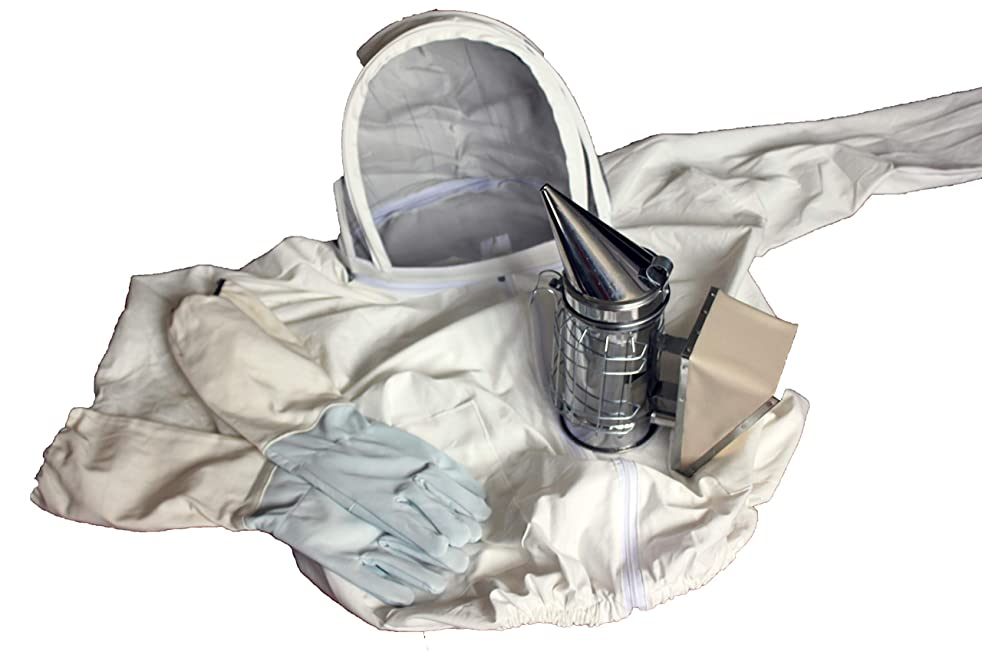 Apiray Bundle Suit+Gloves+Smoker for Beekeepers Cotton Leather and Stainless Steel