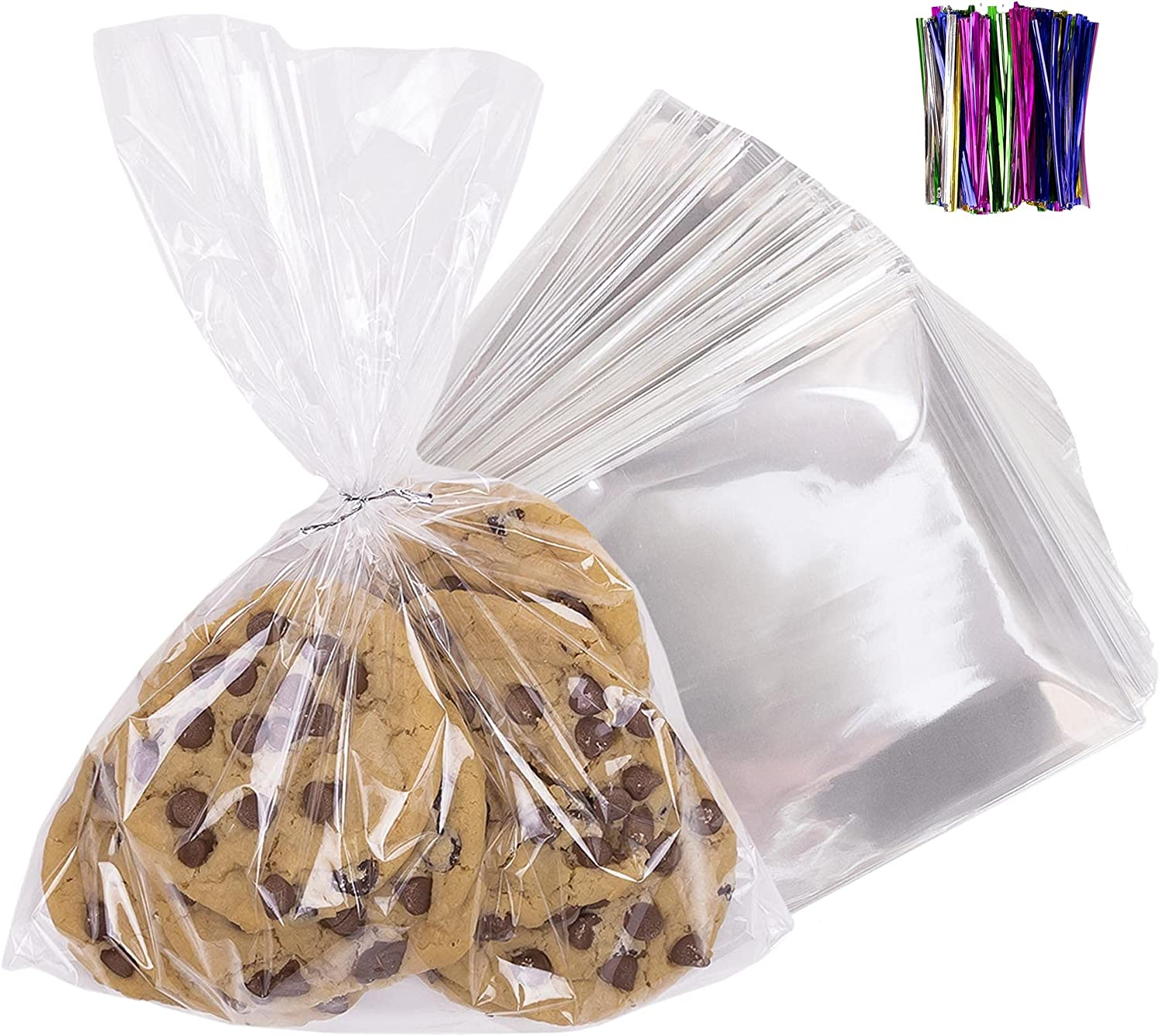 200 Pcs 9x12 Clear Flat Cello/Cellophane Treat Bags for Gift Wrapping, Bakery, Cookie, Candies, Dessert, Party Favors Packaging, with Color Twist Ties! : Everything Else