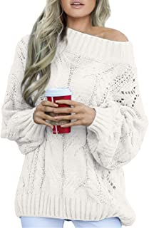 FIYOTE Womens Casual One Shoulder Long Sleeve Chunky Winter Warm Knit Pullover Sweater Tops S-XL