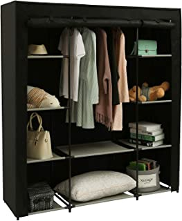 Homebi Clothes Closet Portable Wardrobe Durable Clothes Storage Organizer Non-Woven Fabric Cloth Storage Shelf with Hanging Rod and 10 Shelves for Extra Storage, 59.05