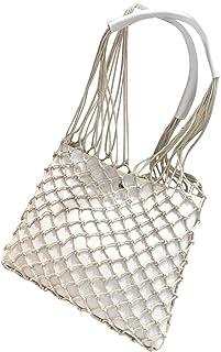 TOOGOO Casual Hollow Net Flap Bag Pu Leather Hollow Women Shoulder Bag Hemp Rope Woven Handbag Bohemian Beach Bag Lady Handbag White
