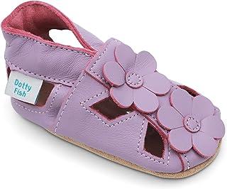 Dotty Fish Chaussures bébé en Cuir Souple. Sandales à Fleurs. Chaussons antiderapant Bebe. Filles. 0-6 Mois à 2-3 Ans